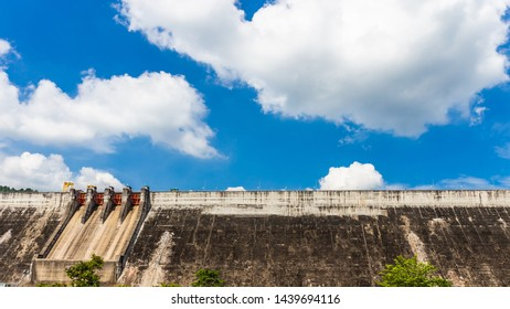 Water storage dam For consumption Large in Nakhon Nayok, Thailand with cloud sky background