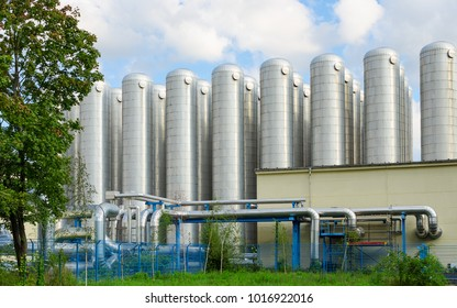 Water storage tanks in eco-friendly industrial sewage treatment system for drinking water production