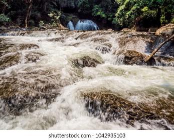 Water stream running over the rocks