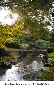 Water stream and stone bridge in traditional Japanese garden in Kyoto, Japan