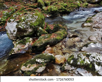 Water Streaming around Moss Covered Rocks in a Riverbed in Mostnica Gorge in Stara Fuzina near Lake Bohinj in Triglav National Park, Slovenia in Autumn