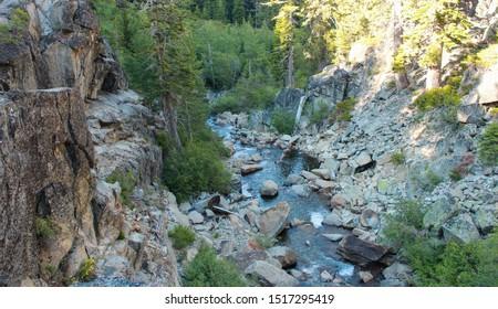 Water streaming down in the Eagle Creek, Tahoe, California