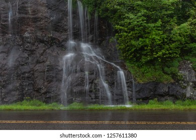 Water Streams Down Cliff on Blue Ridge Parkway during rain storm