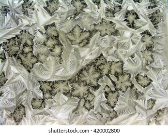 Water structuring processes made visible through crystallization of pigmented liquids on narrow surface. Organic and inorganic forms interwoven into natural landscapes and patterns.