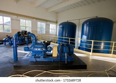Water supply installation in blue colour
