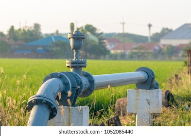 Water supply pipeline to the village on the outskirts.
