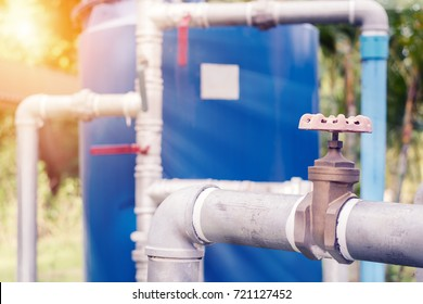 Water supply system of community area.Water pipes and water tank for quality water production.Development of public utilities.