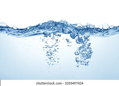 water surface with bubbles and splashes isolated on white background