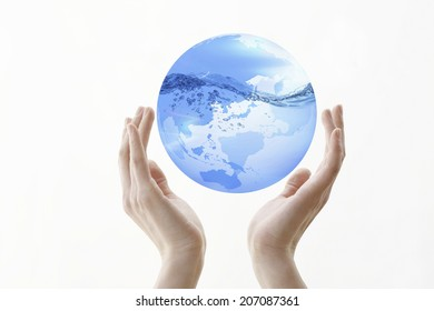 Water Surface And The Globe