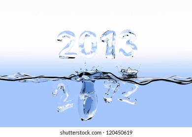 Water surface with the numbers 2012 splashing into the water and 2013 staying over the surface. The numbers are also made of water.