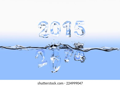 Water surface with the numbers of 2014 splashing into water and 2015 floating above the water surface. All the numbers appear also as made of water.