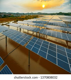 Water surface solar photovoltaic power station base in aerial photography construction