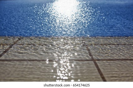 water in the swimming pool as a background