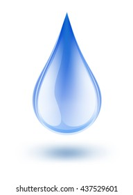 water symbol drop blue color with shadow on white. raster illustration