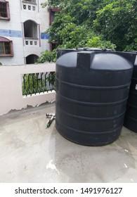 Water tank black huge rooftop