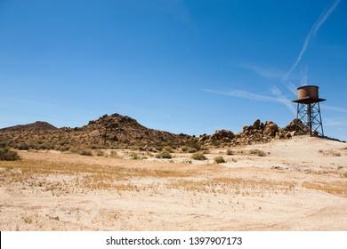 Water tank in the desert. Sleepy Valley, California.