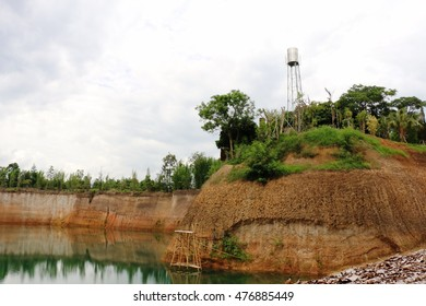 Water tanks on the mountain and scenery around the reservoir