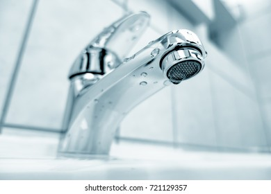 Water tap in bathroom