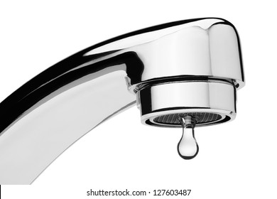Water tap with drop, isolated on the white background, clipping path included.