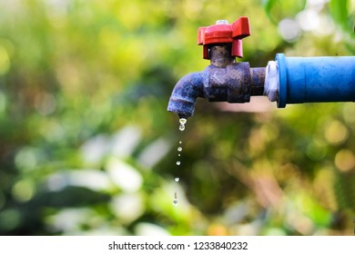 Water tap with water drop outdoor green park background