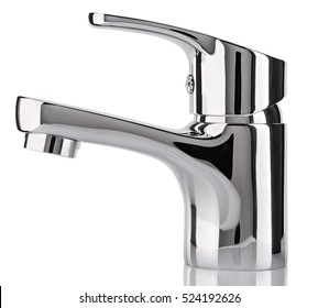 The water tap, faucet for the bathroom and kitchen mixer, isolated on a white background. Chrome-plated metal. Side view