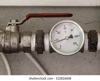 Water temperature meter attached to the metal pipe