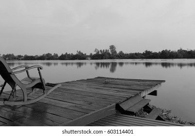 Water terrace,black and white picture