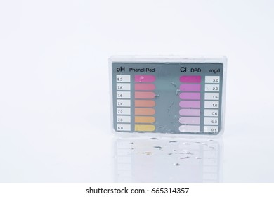 Water testing test kit on white background