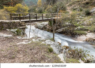 Water torrent of the Manzanares river in the Pedriza area of Madrid