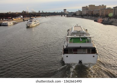 Water tourism in Moscow - excursion boats on Moscow river floating in spring day - travel, trup, cityscape