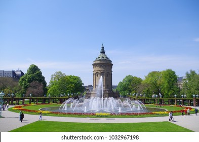 Water tower in city Mannheim, Germany, Spring.