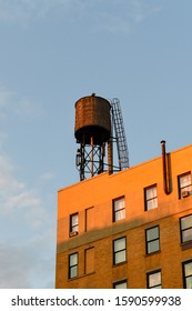 Water tower on the roof of a building in New York City.