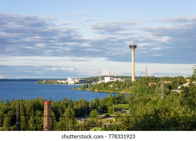 Water tower and Residential District in Tampere, Finland.