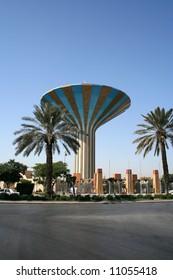 Water tower in Riyadh, Saudi Arabia.