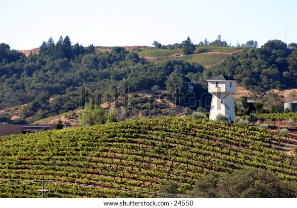 a water tower sits in a vine yard in the sonoma valley of northern california