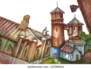Water towers. Illustration by Eugene Ivanov.