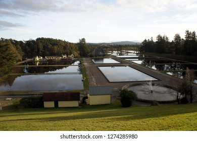 Water treatment facilities of the Vartry Reservoir in winter.Ireland.
