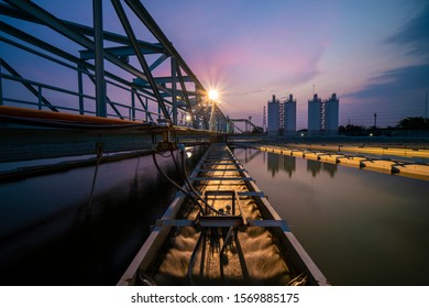 Water treatment plant with beautiful twilight sky