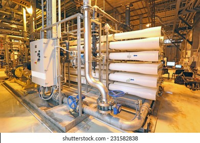 Water treatment plant with low energy yellow sodium lighting