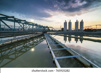 water treatment plant with sunset