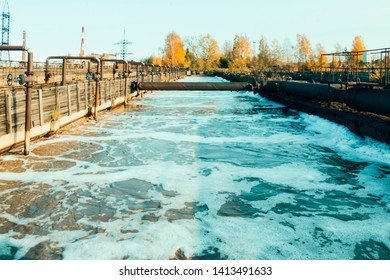 Water treatment process. Piece of water surface during complete-mixing activated sludge process.