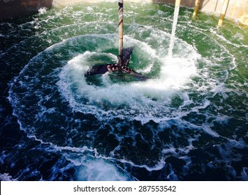 Water treatment with rotating blades