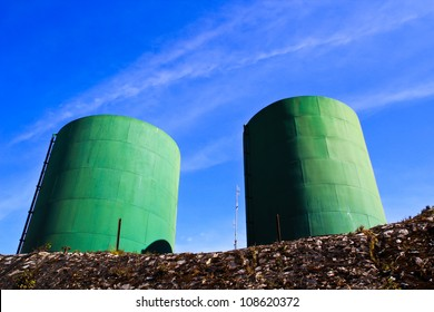 water treatment tanks on waste water treatment plant