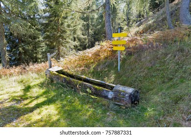 A water trough for wildlife with road signs in Alps mountains, Western Carinthia, Austria.