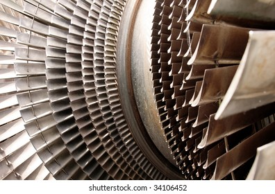 water turbine machine part for turning water jet in to electric power. blades constructed in metal