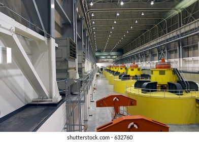 Water turbines and power generators in the power plant