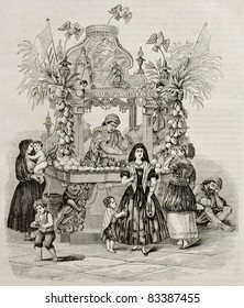 Water vendor stall old illustration, Naples, Italy. Created by Wattier, Best and Leloir, published on Magasin Pittoresque, Paris, 1840