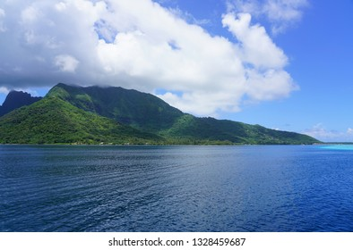 Water view of the island and lagoon of Moorea near Tahiti in French Polynesia, South Pacific