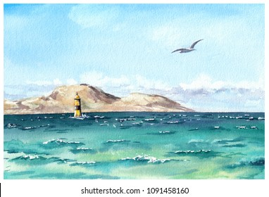 Water view waterscape - lake or sea, mountains, lighthouse and seagull. Watercolor