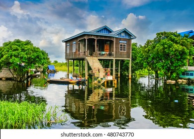 Water villages,Tonle Sap is the largest lake in SE Asia,Area of 2,700 to 3,000 square kilometers. CAMBODIA ,